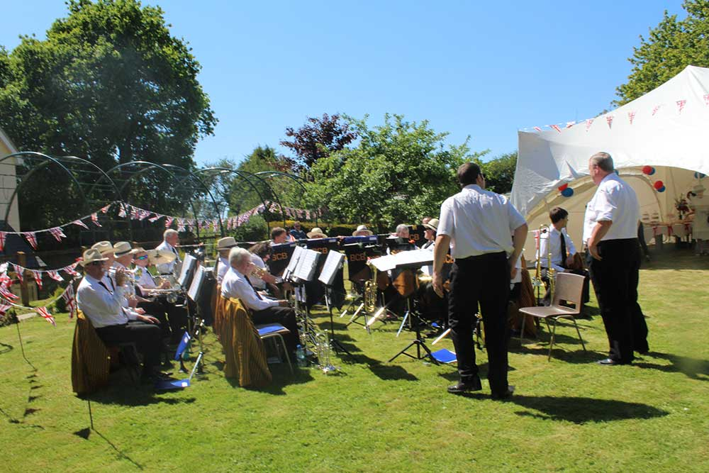 We had a full brass band playing music for residents and their visitors